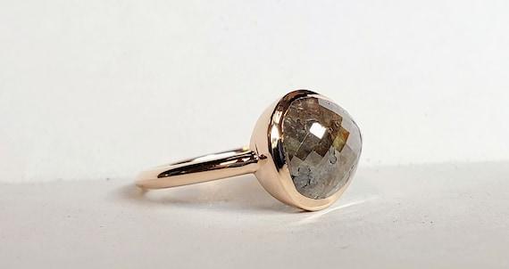 Raw rose cut diamond engagement ring, Non traditional ring, Chocolate diamond ring, 14 karat rose gold ring.