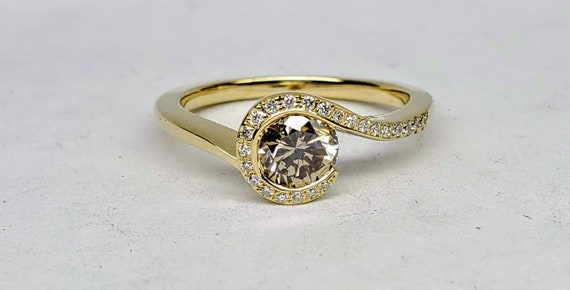 Champagne color diamond engagement ring