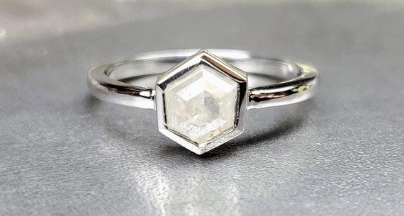 White Hexagon diamond ring, Hexagon diamond White gold ring
