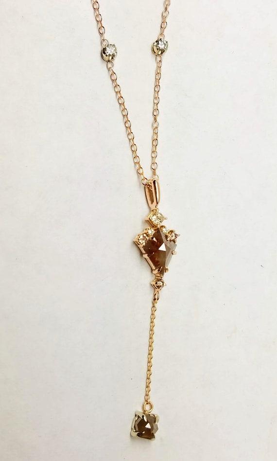 Rose gold raw champagne color diamond pendant, Geometric pendant, Kite shape diamond necklace.