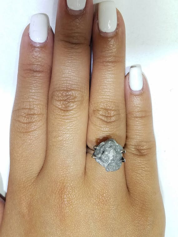 Rough diamond white gold ring, Made to order.