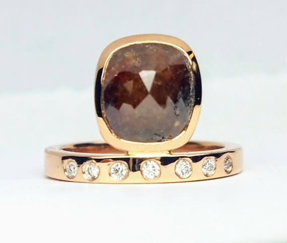 Asymmetric Rose cut diamond ring, Raw diamond engagement ring, Asymmetrical Stackable ring, Asymmetrical Diamond engagement Ring,