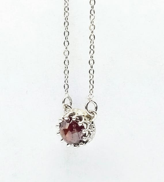 Diamond pendant, Brown diamond pendant, Dainty diamond pendant, Rose cut raw diamond necklace.