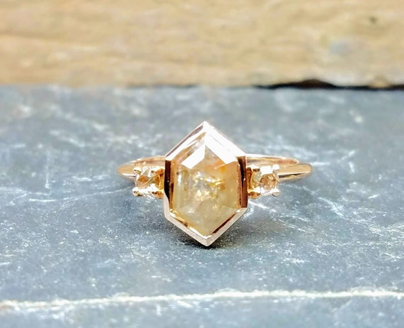 1.06ct Rustic rose cut champagne diamond alternative engagement ring, Promise ring, Statement ring.
