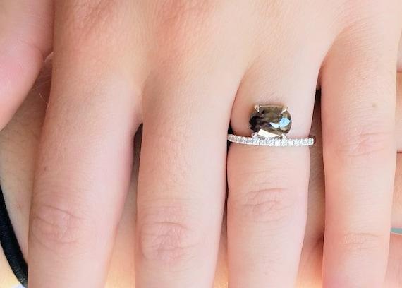 Rose cut diamond ring, Raw diamond engagement ring, Asymmetrical Stackable ring, Asymmetrical Diamond engagement Ring, Oval diamond ring.