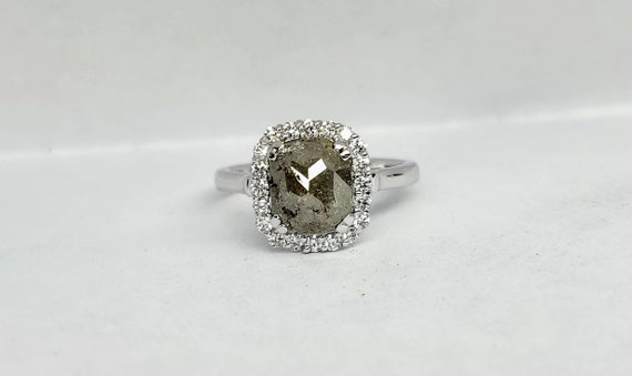 Rose Cut Gray Diamond White Gold Engagement Ring, Non traditional raw rustic diamond engagement ring.