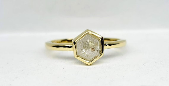 Yellow Gold Hexagon Diamond Ring, Gray Hexagon diamond Ring, Geometric Yellow Gold raw diamond ring