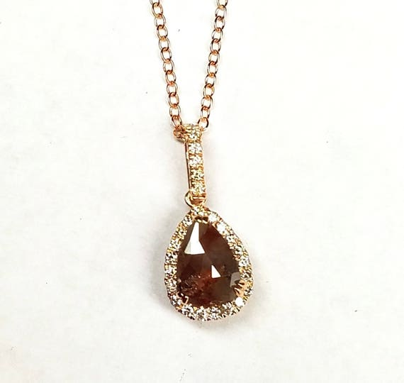 Raw rustic rough rose cut diamond pendant, Pear shape diamond necklace, Chocolate color diamond pendant, Rose gold pendant.