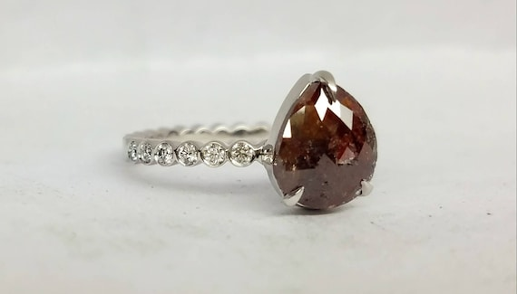 Rose cut brown diamond ring. Raw rose cut chocolate color diamond ring. Pear shape diamond engagement ring, Teardrop diamond ring.