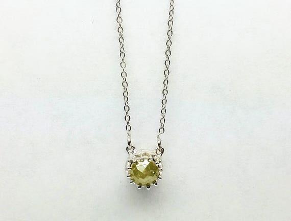 Diamond pendant, Grey diamond pendant, Dainty diamond pendant, Rose cut raw diamond necklace.
