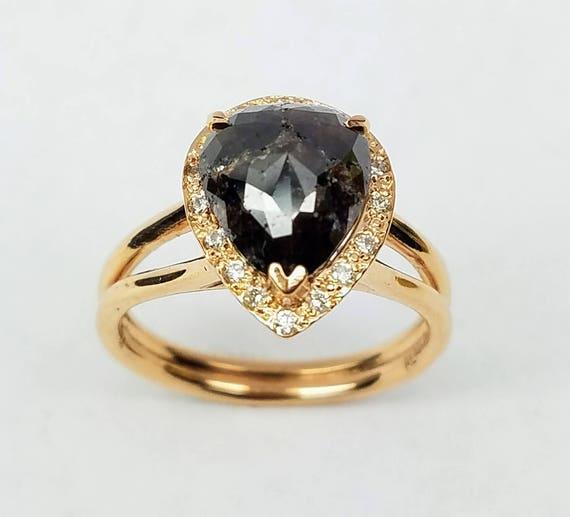 Rose cut diamond engagement ring, Pear shape rough diamond ring, Non traditional ring, Chocolate diamond ring, 14 karat rose gold ring.