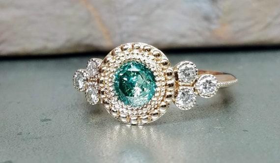 Green diamond engagement ring, Rose gold Victorian style engagement ring, Blue diamond engagement ring.