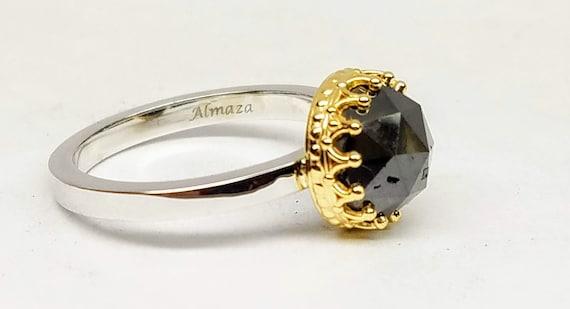 Black diamond engagement ring, Black diamond solitaire.
