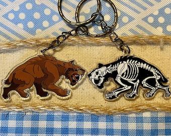 Saber Tooth Tiger Keychain | Smilodon Keychain | Ice Age Keychain Charm