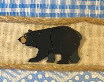 Available in Walnut or Oak Wooden Bear Hat Pin Grizzly Bear Wood Pin