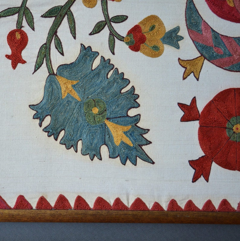 Vintage Suzani embroidery with unusual design