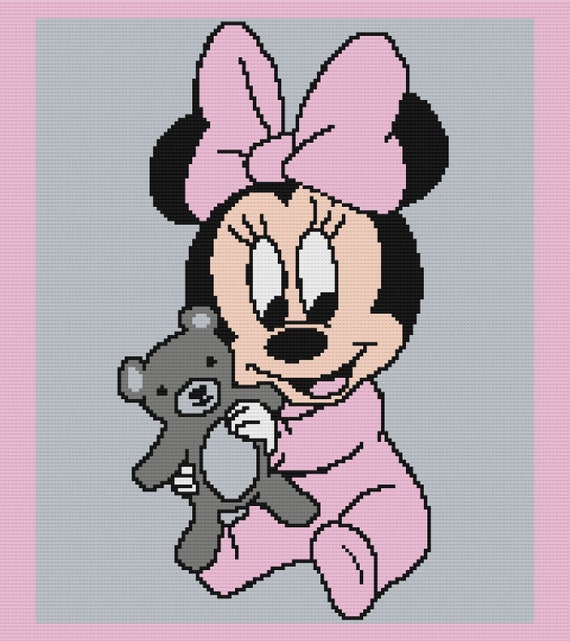 big Minnie mouse head amigurumi baby mobilewall decoration Baby shower Minnie mouse crochet patterns set