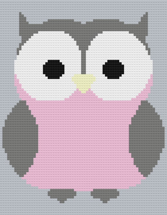 Owl C2C Crochet Graph and Written Pattern