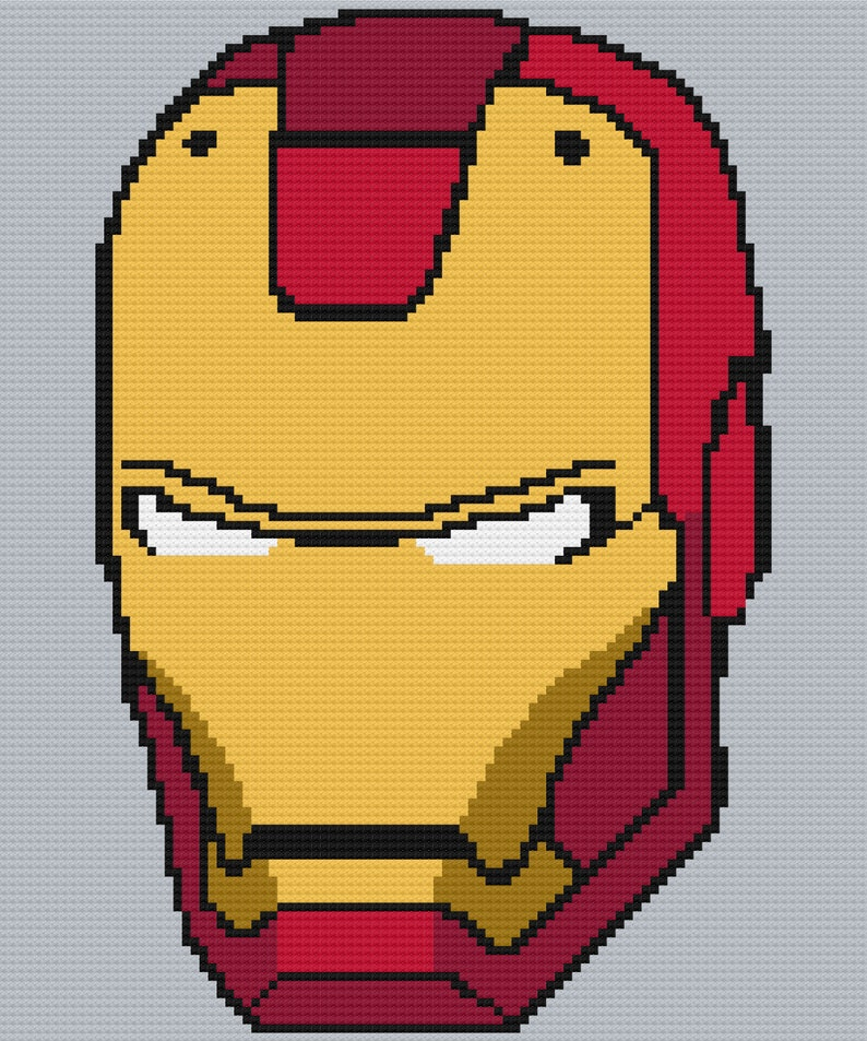 Iron man C2C Crochet Graph and Written Pattern