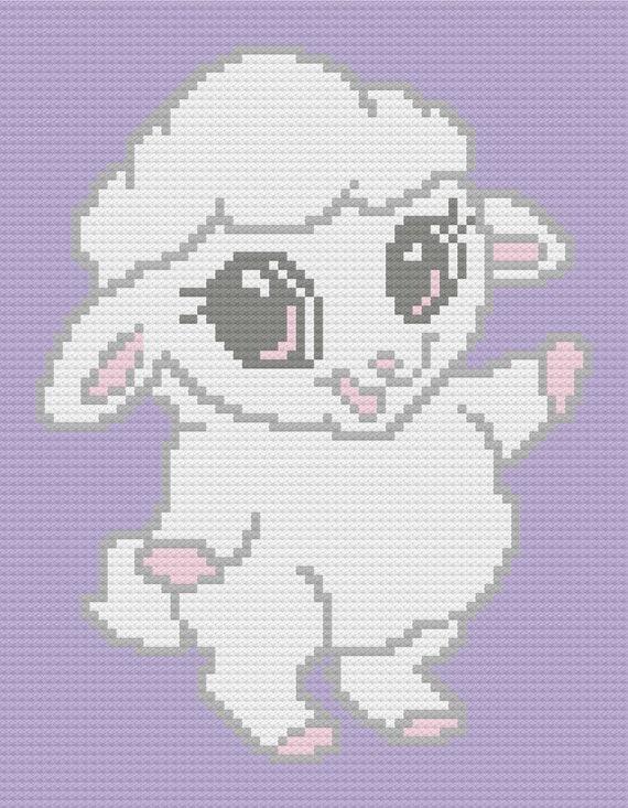 Baby Lamb C2C Crochet Graph and Written Pattern