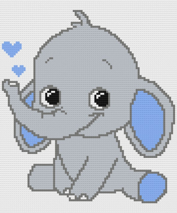 Blue Elephant C2C Crochet Graph and Written Pattern