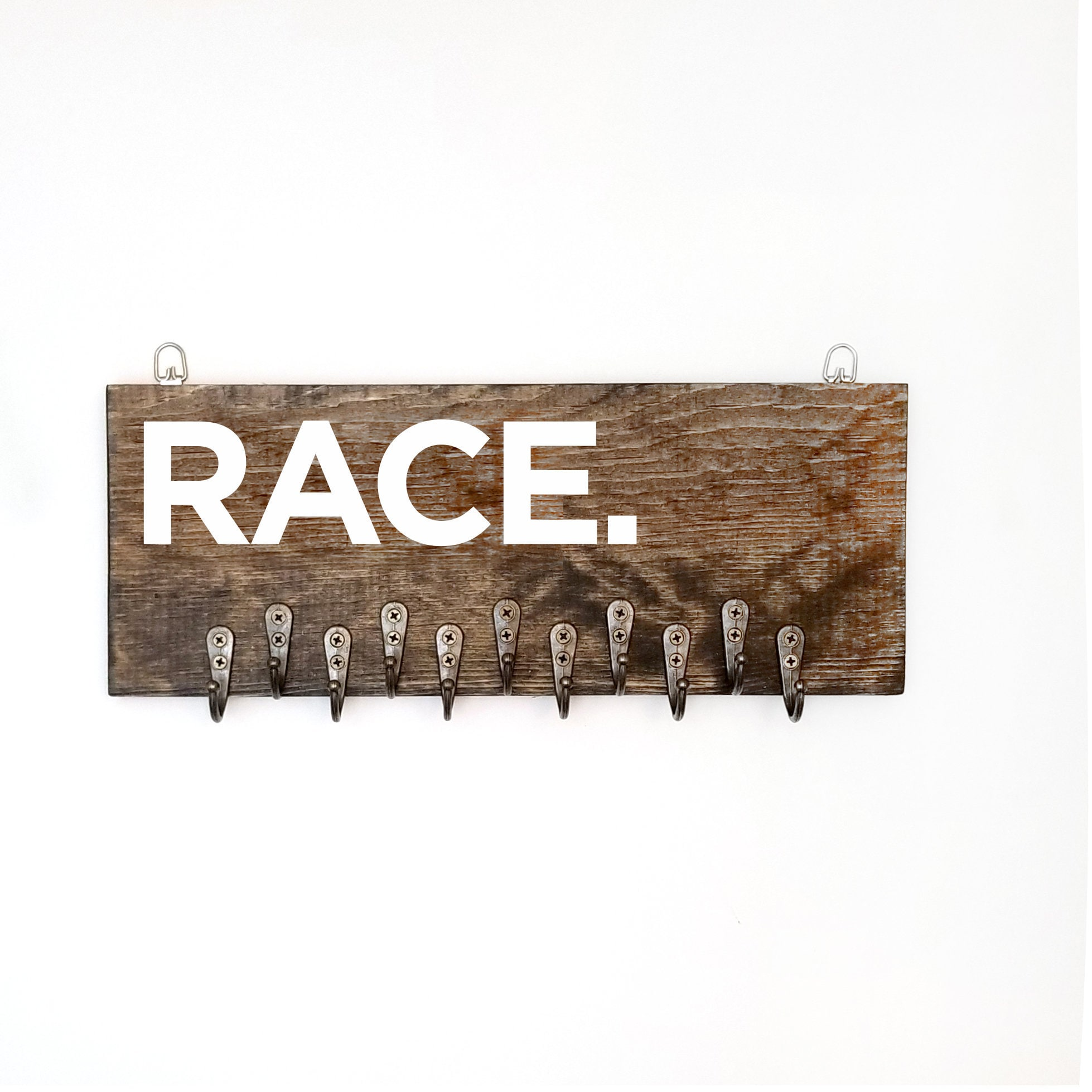 Wooden Race Medal Holder Running Accessories Gifts For Runners Marathon Medal Display Hand Painted Rustic Upcycled Wall Art 5k 10k