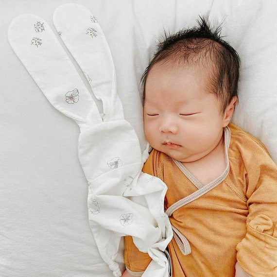 Personalized Lovie Baby Essentials. Mini Baby Blanket Organic Lovey Security Blanket Pink Floral Animal Lovie Bunny Lovey
