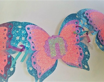 Butterfly, I'm One Birthday Banner, First Birthday Banner, I Am One Banner, 1st Birthday Banner