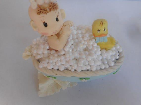 Bébé sur la baignoire de gâteau, Baby Shower Cake bleu Topper, Shower de bébé bleu Cake pour les décorations de gâteau, bébé garçon maîtresses, canard jaune bébé douche 92d3a8