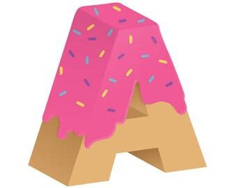 Letter A, pink doughnut, digital download print poster