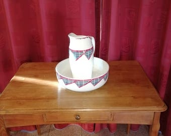 porcelain jug and basin toiletry toilet porcelain pitcher and basin set/necessary french vintage Ceranord St amand