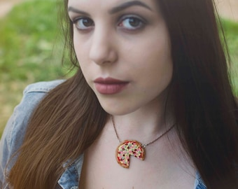 Polymer clay pizza necklace and earrings