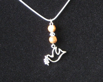Peace Dove Olivewood Necklace