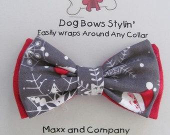 Dog Bow Tie - Dog Bowtie - Santa Claus Christmas Dog Bow Tie - Dog Bow - Cat Bow Tie - Dog Collar Bow