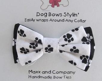 Dog Bow Tie - Paws Dog Bow Tie - Small Dog Bow - Cat Bow Tie - Dog Bowtie - Dog Bow