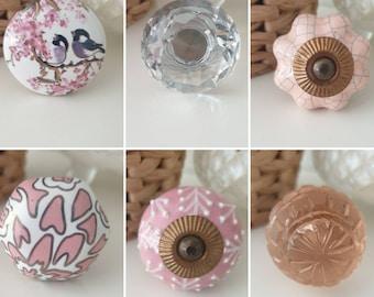 Ceramic Knobs Pink Baby Pink Gold Crystal Circles Round Ceramic Porcelain Door Knobs Furniture Drawer Bedside Cabinet Kitchen