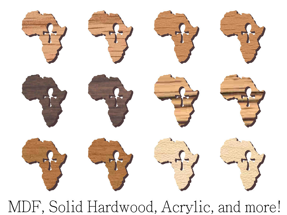 """12 pcs 3/"""" Tall Gye Nyame Afro Comb Knockout in Oval Maple Hardwood Cutout Sanded"""