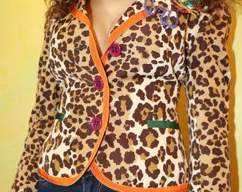 1990s Moschino Cheap and Chic Fun Leopard Print Blazer
