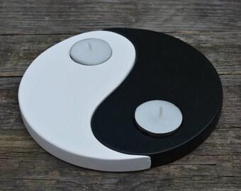 Wooden candle holder yin yang housewarming gift Yin yang candle holder black and white tealight holder plywood chinese symbol reclaimed wood