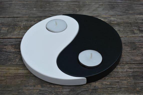 H lzerne kerze halter yin yang einweihungsparty geschenk yin etsy - Einweihungsparty geschenk ...