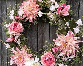 ALL Season Wreath Dahlia and Ribbon Wreath Peach Butterfly 14 inch Coral Dahlia Wreath Coral Ribbon Peach Dahlia Spring Coral Wreath