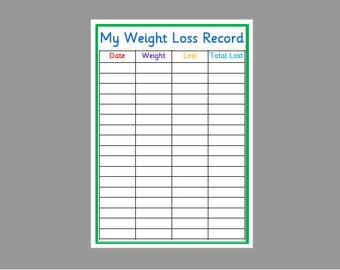 picture regarding Printable Weight Loss Chart named Excess weight reduction chart printable Etsy