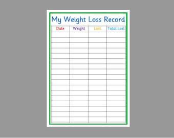 weight loss chart etsy