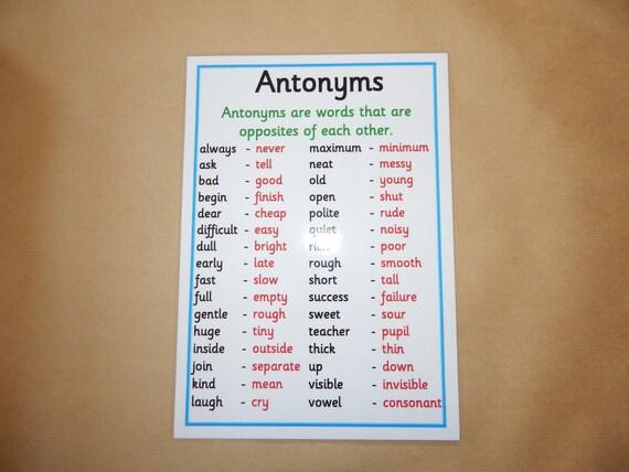 Antonyme Alphabetisierung Poster Alphabetisierung Englisch