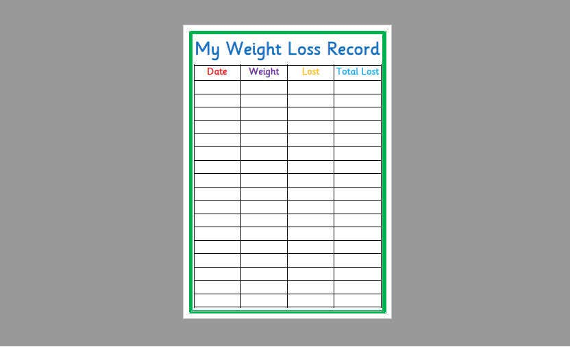 Printable Weight Loss Record - Slimming World, Weight Watchers, Weight  Loss, fitness, healthy living - Instant Download