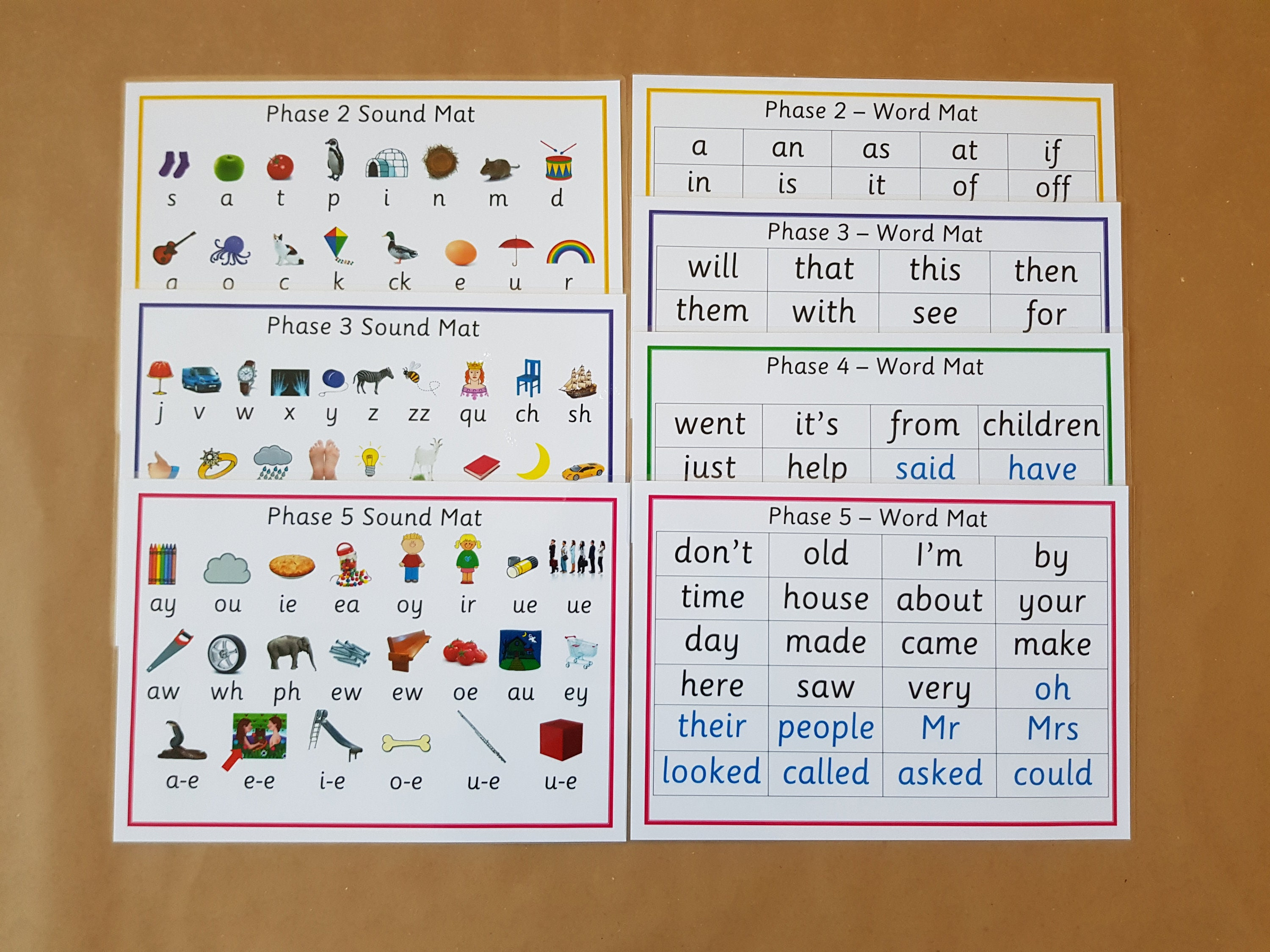 Letters and Sounds Phases 2-5 word and sound mats phonics | Etsy
