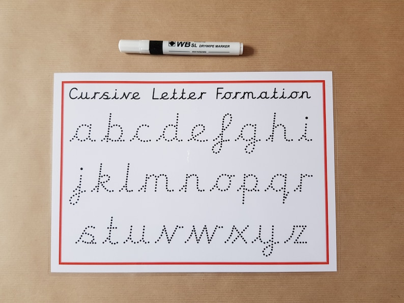 Tracing Cursive Letters, writing letters, dotted font, alphabet, reusable  mat, pre school, EYFS, teaching resource, learning, educational