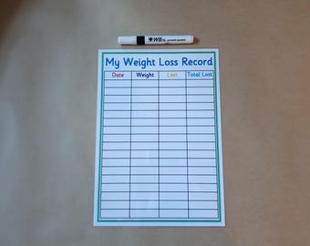 Weight Loss Record, A4 Laminated Card, Slimming World, Weight Watchers, Weight Loss tracker, losing weight, healthy living