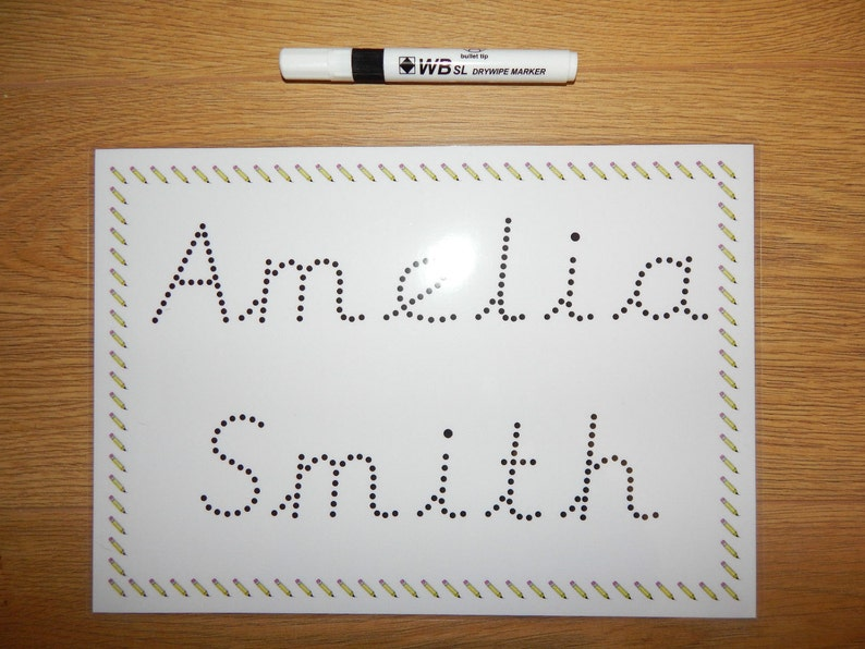 Name tracing, pre cursive font, personalised name card, EYFS, handwriting,  pre school, wipe clean, reusable, teaching resource