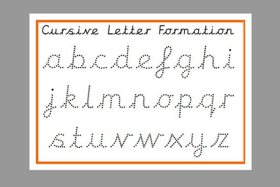 printable tracing cursive lower case letters tracing letters etsy